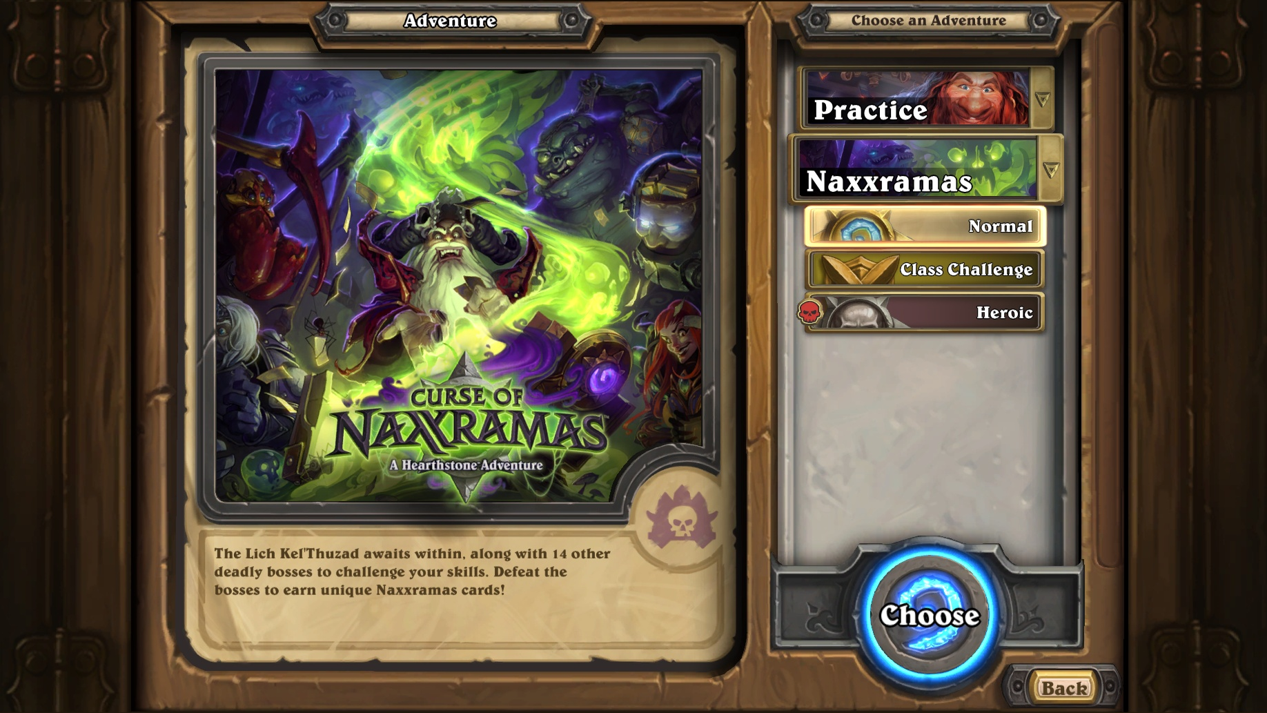 Curse of Naxxramas メインメニュー