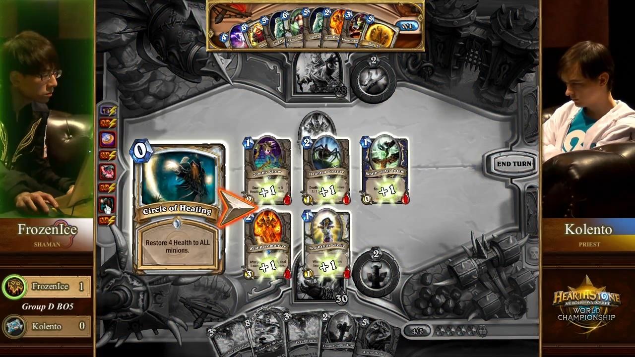 敵陣殲滅とカード・ドローを両立させた魔法のようなKolento選手の連続プレイを前にして、一体何が起こったのかと確認するFrozenIce選手。