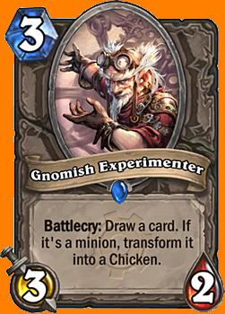 Battlecry: カードを1枚引く。それがMinionカードならば、それをChickenに変身させる。