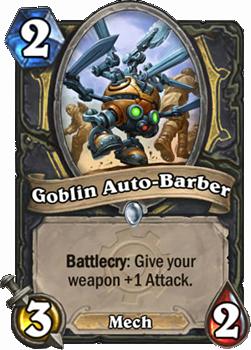 Battlecry: あなたのHeroが装備している武器にAttack +1を与える。