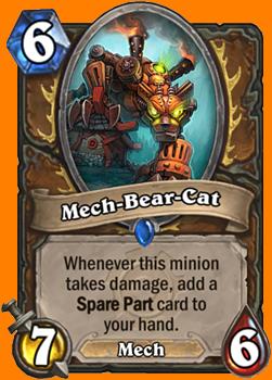 このMinionがダメージを受けるたびに、1枚のSpare Partカードをあなたの手札に入れる。