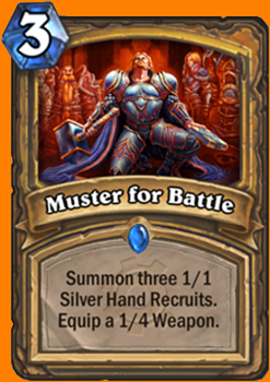 1/1のSilver Hand Recruitを3体召喚する。あなたのHeroがAttack 1 / Durability 4のLight's Justiceを装備する。