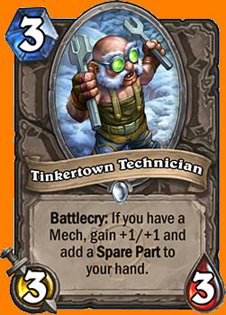 Battlecry: 自軍にMech Minionがいると、+1/+1を得て、1枚のSpare Partカードをあなたの手札に入れる。