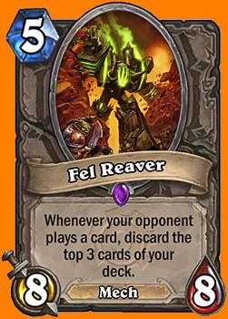 対戦相手がカードをプレイするたびに、あなたのデッキからカードを3枚破棄する。