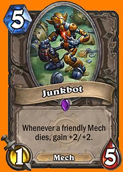 自軍のMech Minionが死ぬたびに+2/+2を得る。