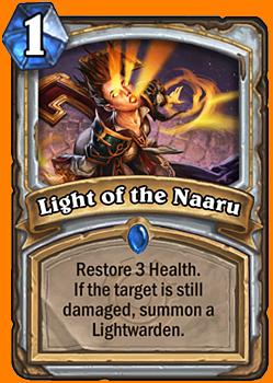 Healthを3回復する。対象が回復後もダメージを受けている場合は、Lightwardenを召喚する。
