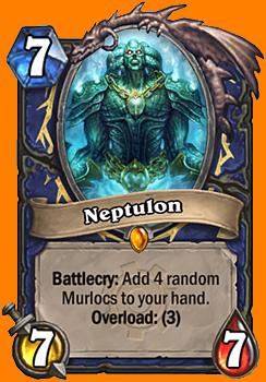 Battlecry: ランダムに選ばれた4枚のMurloc種族のMinionカードをあなたの手札に入れる。Overload: (3)