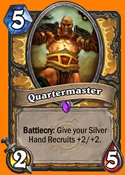 Battlecry: あなたの全てのSilver Hand Recruitに+2/+2を与える。