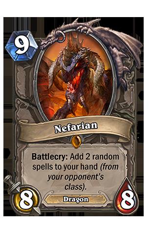 Battlecry: ランダムに選ばれた、敵のHeroのクラス専用であるSpellカードを2枚あなたの手札に入れる。