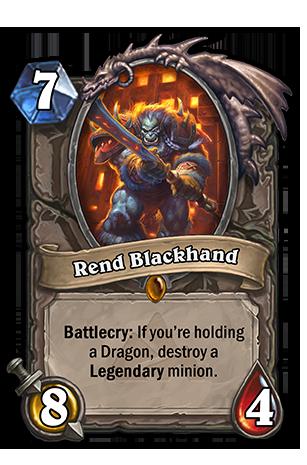 Battlecry: あなたの手札にDragon種族のMinionカードがあると、場にいる1体のLegendary Minionを破壊する。
