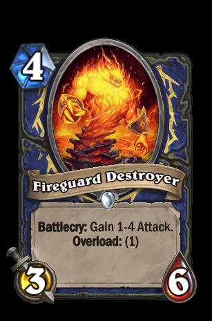 Battlecry: Attack +1~4を得る。Overload: (1)