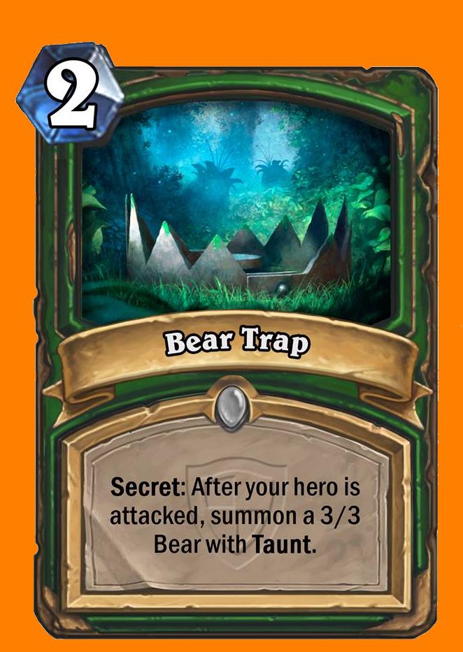 Secret: あなたのHeroが直接攻撃を受けた後に、Tauntを持つ3/3のBearを召喚する。
