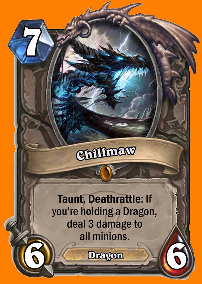 Taunt, Deathrattle: あなたの手札にDragon種族のMinionカードがあると、全てのMinionに3ダメージを与える。