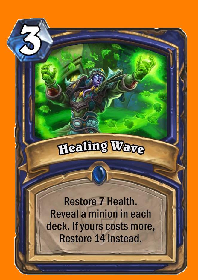 Healthを7回復する。両方のプレイヤーのデッキからMinionカードをランダムに選んで表示する。あなたのカードのコストが高ければ、回復量が14になる。