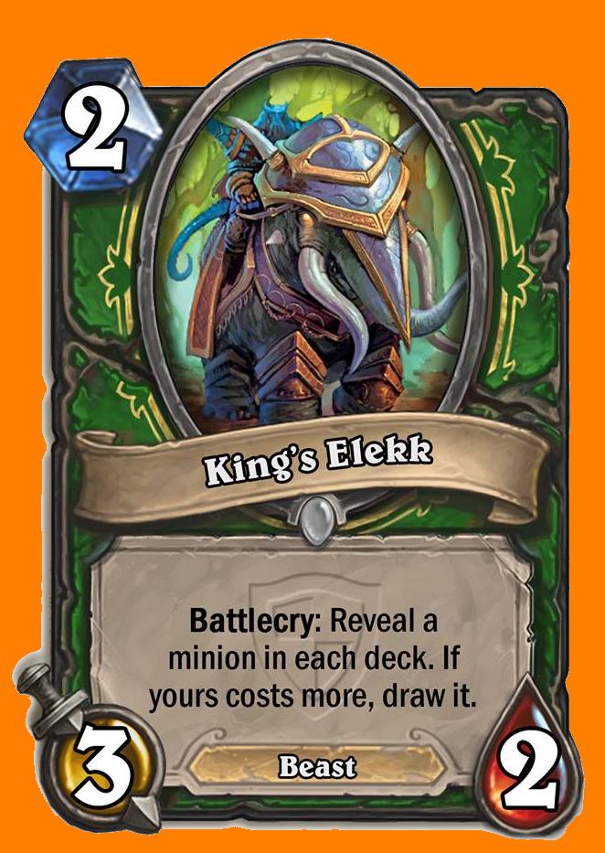 Battlecry: 両方のプレイヤーのデッキからMinionカードをランダムに選んで表示する。あなたのカードのコストが高ければ、そのカードをデッキから引き入れる。