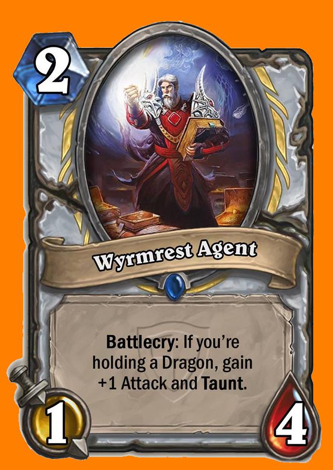 Battlecry: あなたの手札にDragon種族のMinionカードがあると、Attack +1とTauntを得る。