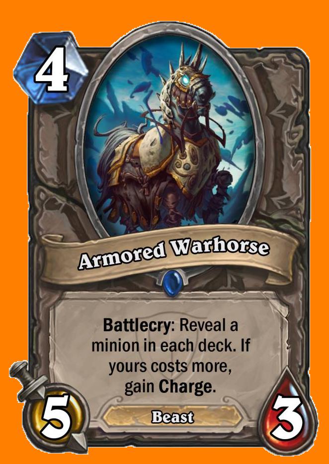 Battlecry: 両方のプレイヤーのデッキからMinionカードをランダムに選んで表示する。あなたのカードのコストが高ければ、Chargeを得る。