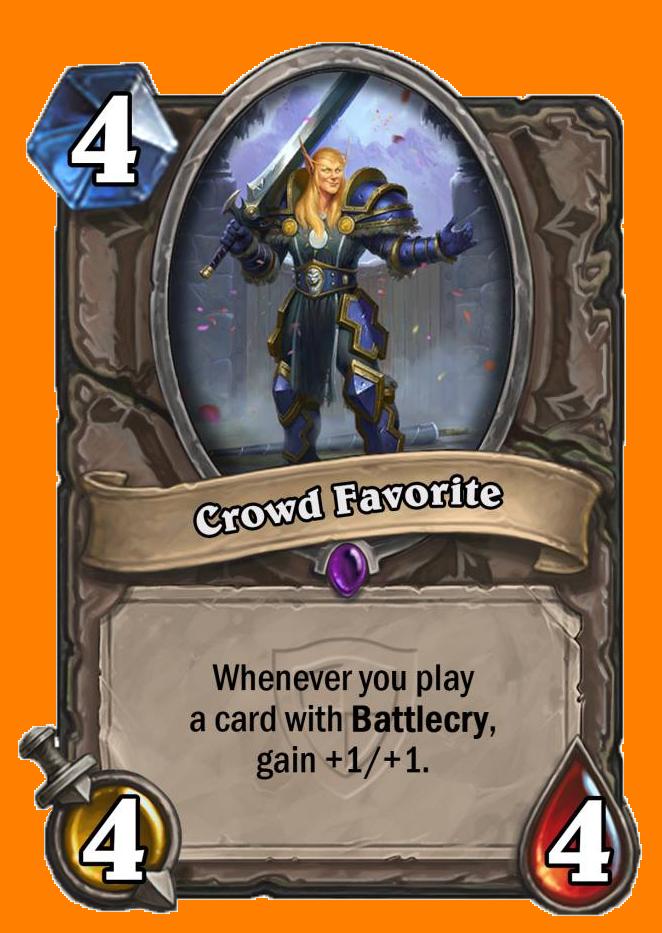 あなたがBattlecryを持つカードをプレイするたびに+1/+1を得る。