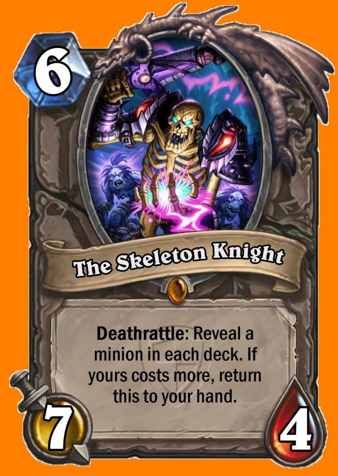 Deathrattle: 両方のプレイヤーのデッキからMinionカードをランダムに選んで表示する。あなたのカードのコストが高ければ、このMinionをあなたの手札に戻す。