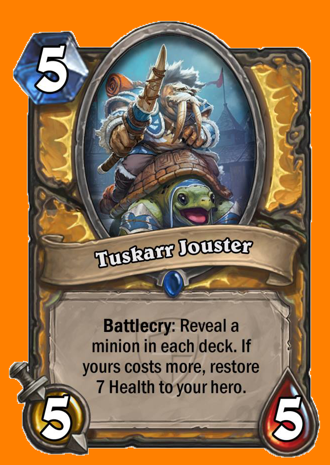 Battlecry: 両方のプレイヤーのデッキからMinionカードをランダムに選んで表示する。あなたのカードのコストが高ければ、あなたのHeroのHealthを7回復する。