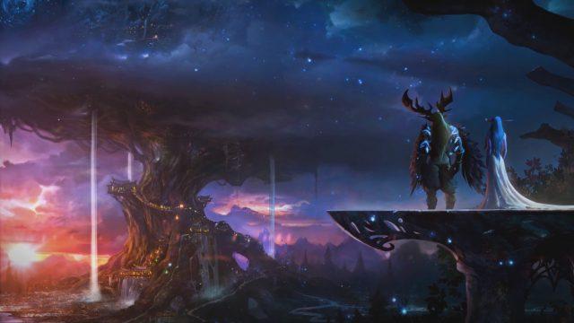 児童書「World of Warcraft: Traveler」公式イラスト テルドラシルを見下ろすマルフュリオンとティランダ