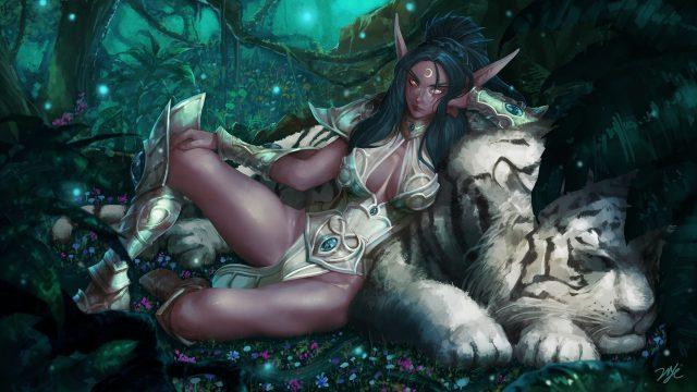 ファン・アート(作者: 21YC) 獣の相棒Ash'alahと横たわる若き日のティランダ